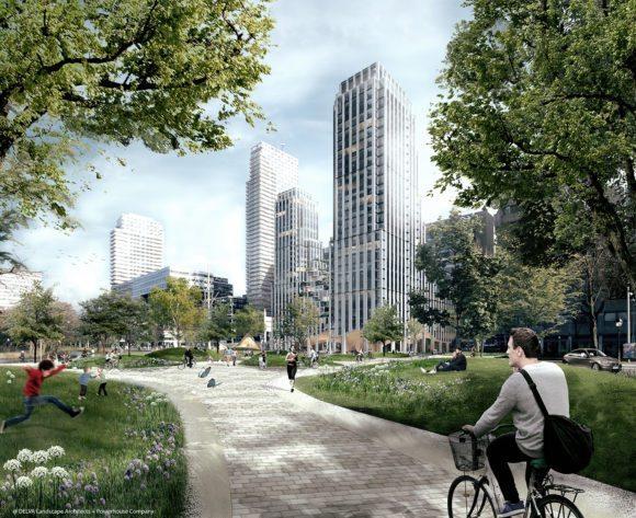 1 © DELVA Landscape Architects Urbanism Powerhouse Amvest Synchroon KJ Plein Centraal station Den Haag Koekamp Park Entree_Montage Park entree