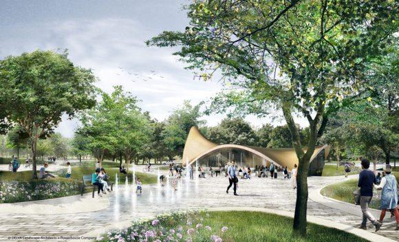 8 © DELVA Landscape Architects Urbanism Powerhouse Amvest Synchroon KJ Plein Centraal station Den Haag Koekamp Park Entree_Montage Paviljoen